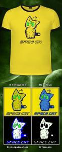 Фото Подростковые футболки GOOD SPACE CAT (Дизайн МЕНЯЕТ ЦВЕТ; светится в темноте и ультрафиолет