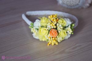 Фото Ободки с цветами Асимметричный обруч в жёлтом цвете