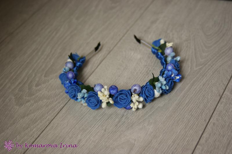 Синий ободок с розочками