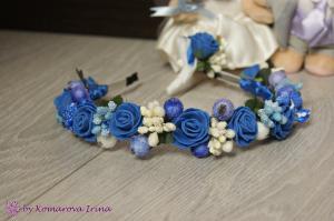 Фото Ободки с цветами Синий ободок с розочками