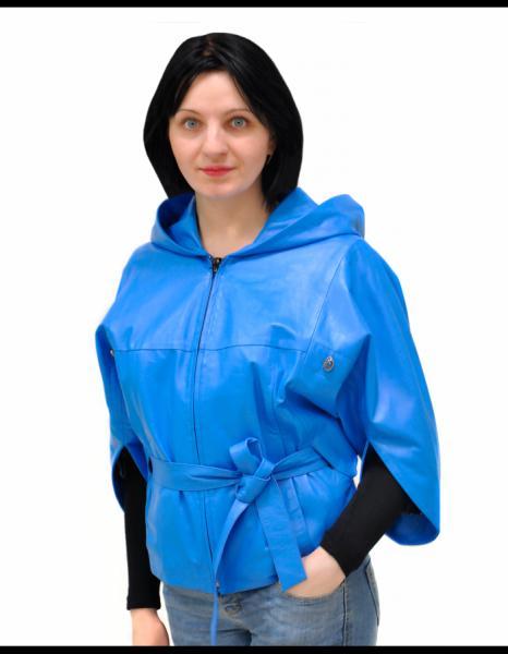 Кожаная куртка (голубой)