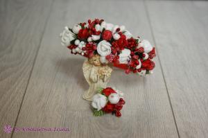 Фото Прочие аксессуары с цветами Брошь с цветами в красно-белом цвете