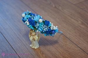 Фото Ободки с цветами Асимметричный ободок с голубыми и синими розочками