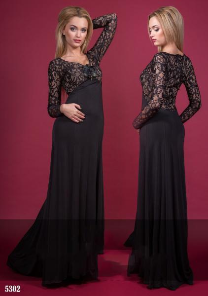 """Платье """"Роза"""" в пол. Цвет - черный Платье - 5302"""