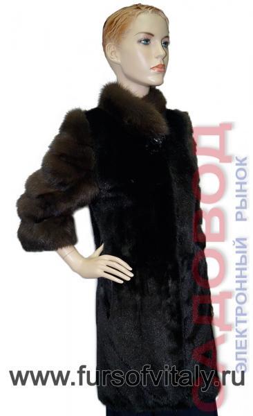 Полушубок из норки и куницы, модель с коротким рукавом Шубы норковые на рынке Садовод
