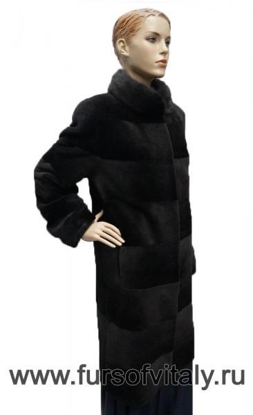 """Пальто из щипаной нутрии, модель """"Поперечка"""""""