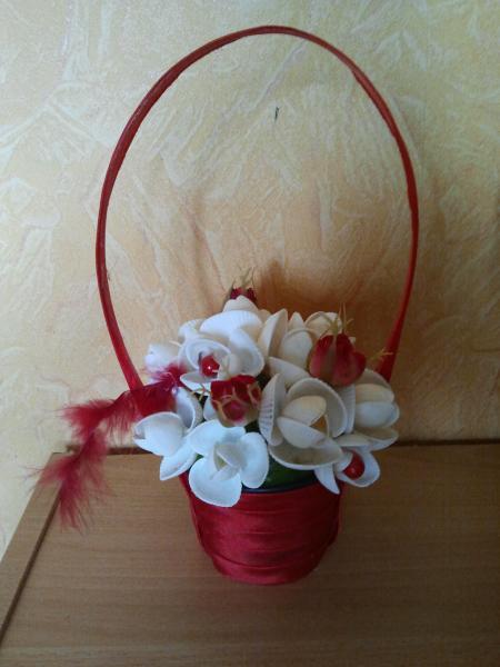 Корзина с цветами красная