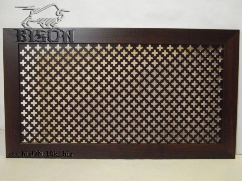 Декоративный экран на батареи «КОЛУМБИЯ» из перфорированного МДФ, цвет – Орех (темно-коричневый)