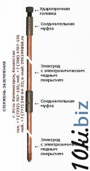 Стержень электрод штырь заземления омедненный и оцинкованный СМП, СЦП Электрооборудование в Казахстане