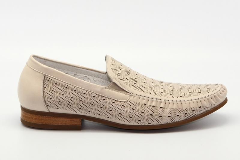 Мужские туфли 416469/02#6 бежевый кожа