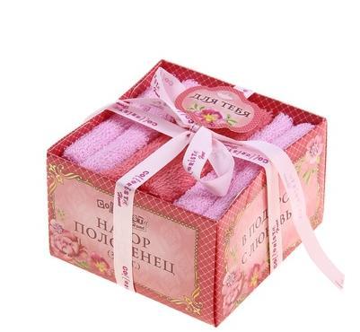 """Набор полотенец 3пр""""Collorista"""" С любовью, розовый 30х30 см - 3 шт, 100% хлопок, 340 гр/м2"""