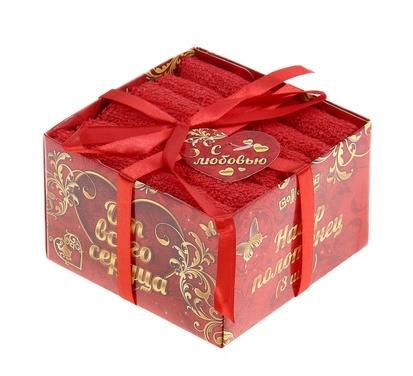 """Набор полотенец 3пр""""Collorista"""" От всего сердца, красный 30х30 см - 3 шт, хлопок, 340 гр/м2"""