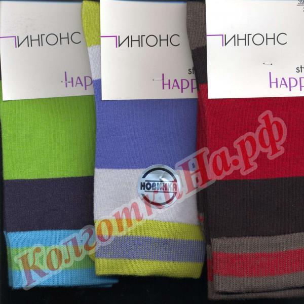 Носки мужские хлопковые модные цветные (разноцветные) полосатые Пингонс Happy Style 10В24/25 Код товара: К-343