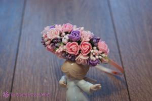 Фото Ободки с цветами Асимметричный ободок в розово-фиолетовом цвете