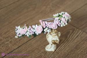 Фото Ободки с цветами Розово-ванильный ободок с розочками