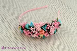 Фото Ободки с цветами Нежный розово-мятный ободок, выполнен на бок
