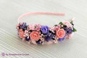 Фото Ободки с цветами Асимметричный ободок в розово-синеревом цвете с персиковыми розочками