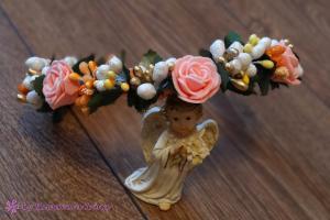 Фото Ободки с цветами Ободок в персиково-оранжевом цвете ручной работы