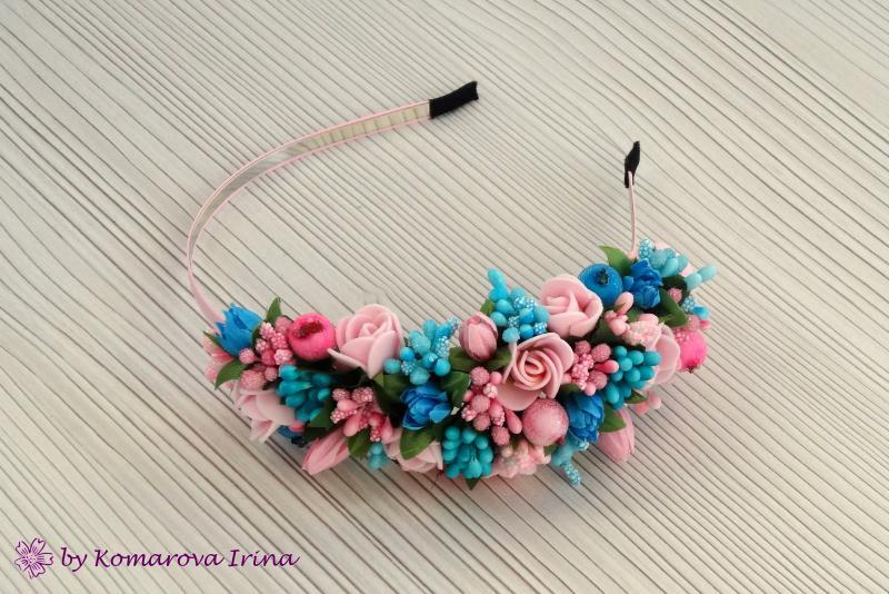Асимметричный розово-бирюзовый ободок ручной работы