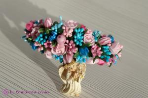 Фото Ободки с цветами Асимметричный розово-бирюзовый ободок ручной работы