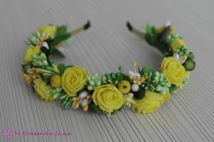 Фото Ободки с цветами Желто-салатовый ободок