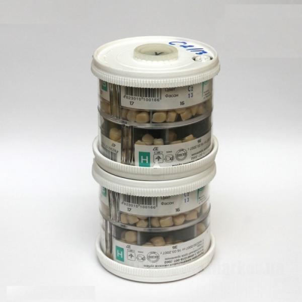 Фото Для зуботехнических лабораторий, МАТЕРИАЛЫ, Зубы акриловые Зубы Эстедент Стома (жевательные) 40 зубов в барабане