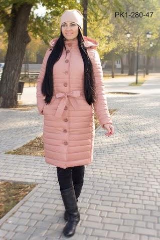 Зимнее женское пальто из плащевки