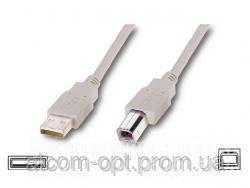 Кабель USB 2.0 AM/BM  2 ferite, пакет, длина 5 м., белый  - Аудио-видео кабели, переходники, разъемы на рынке Барабашова