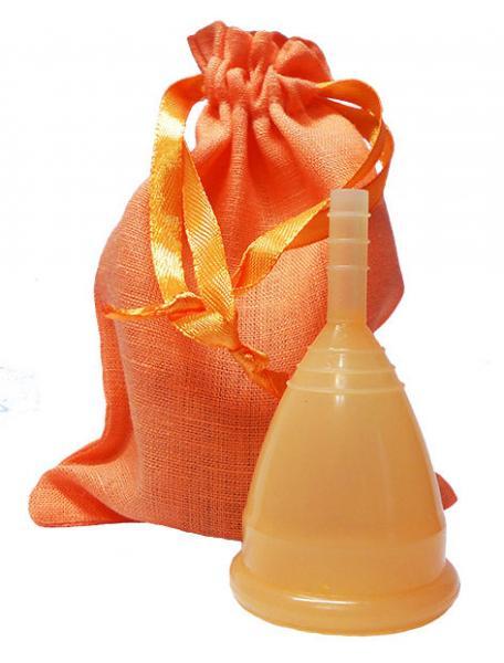 Менструальная чаша оранжевая + мешочек!