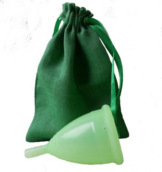 Менструальная чаша зеленая + мешочек!