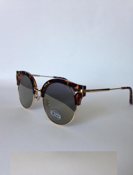 0013  Женские солнцезащитные очки DIOR зеркальные с тигровой или чёрной оправой