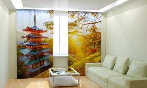 Фото 3D фотошторы, Для комнаты, Природа Азиатский домик