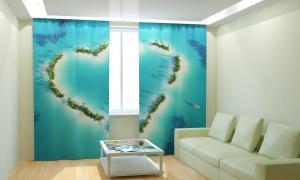 Фото 3D фотошторы, Для комнаты, Природа Остров сердце