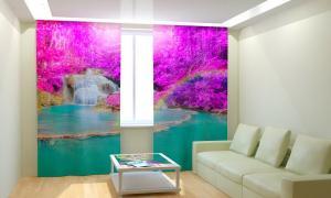 Фото 3D фотошторы, Для комнаты, Природа Радужный водопад