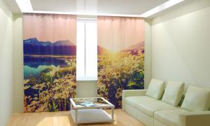 Фото 3D фотошторы, Для комнаты, Природа Ромашки на закате