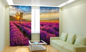 Фото 3D фотошторы, Для комнаты, Природа Сиреневые поля