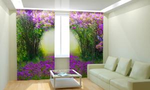 Фото 3D фотошторы, Для комнаты, Природа Сиреневый тоннель