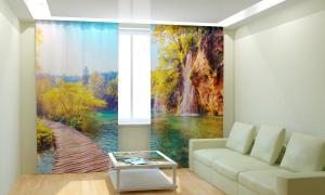 Фото 3D фотошторы, Для комнаты, Природа Тихий водопад