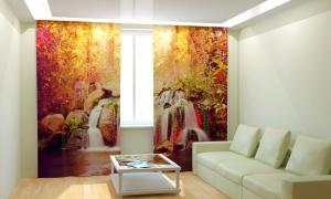 Фото 3D фотошторы, Для комнаты, Природа Тропический водопад