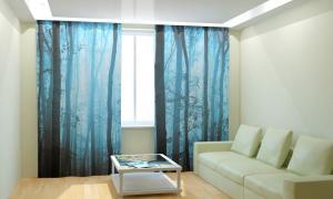 Фото 3D фотошторы, Для комнаты, Природа Туманные деревья