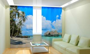 Фото 3D фотошторы, Для комнаты, Природа Хижины на острове