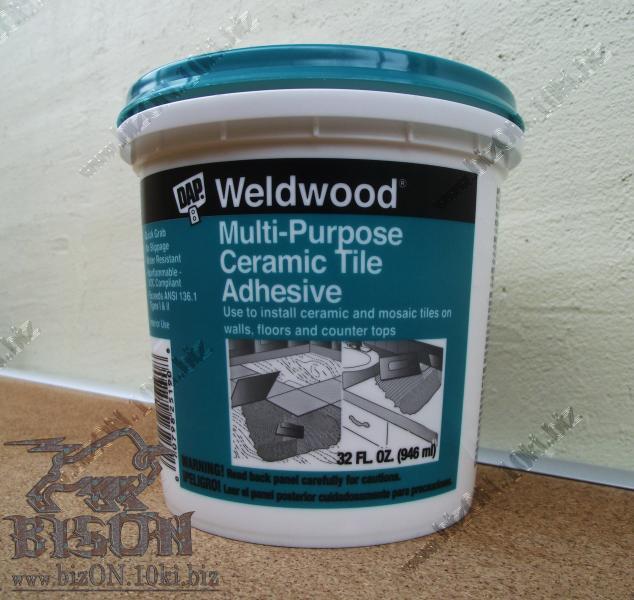 Многоцелевой клей для мозаики, керамической плитки, пробковой облицовки, бамбуковых панелей – DAP® WELDWOOD® Multi-Purpose Ceramic Tile Adhesive