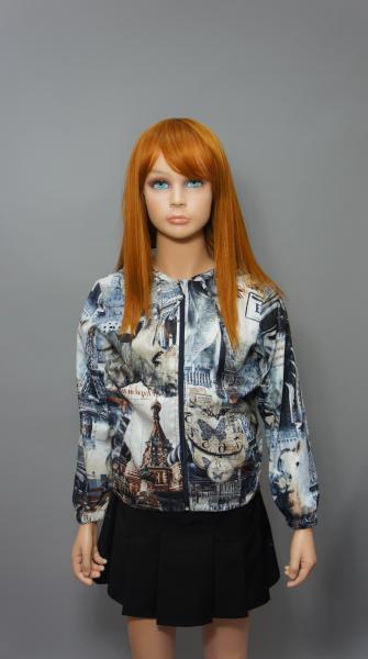 """Куртка (ветровка) для девочки """"Города"""" 7716"""