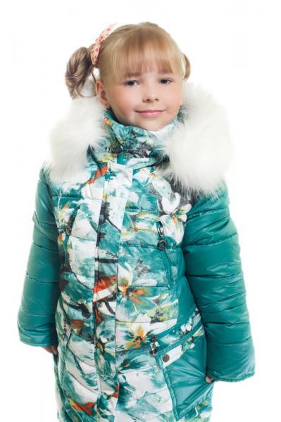 """Пальто для девочки Модель 5515 """"Лютики"""""""