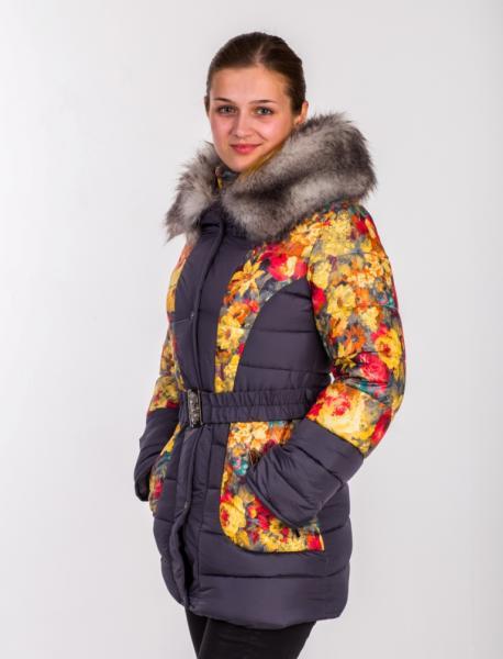 """Куртка для девочки Модель 2314 """"Цветы"""""""