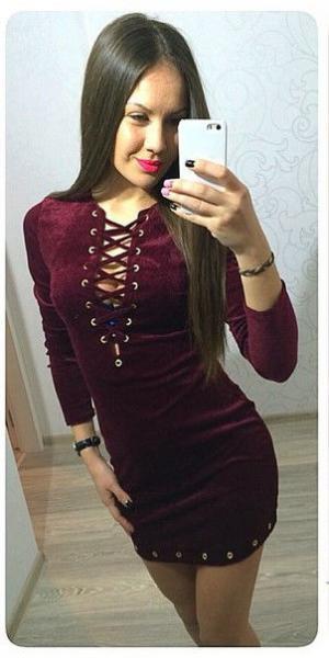 Платье женское велюровое с люверсами 8739