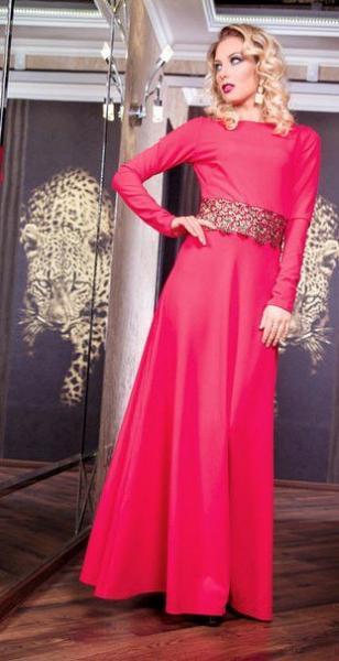 Платье женское длинное нарядное с кружевом 7627