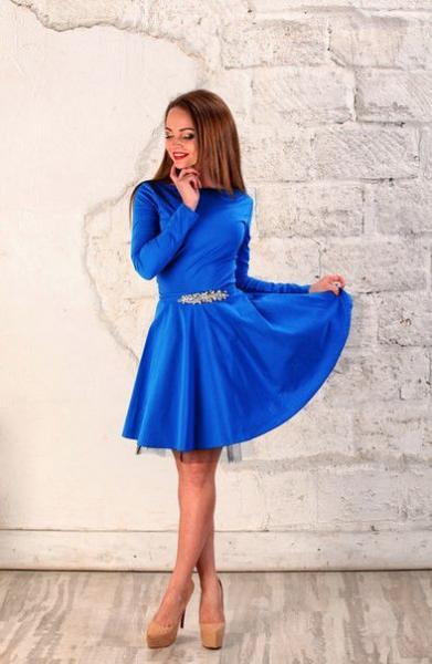 Платье женское нарядное с камнями на поясе 3825