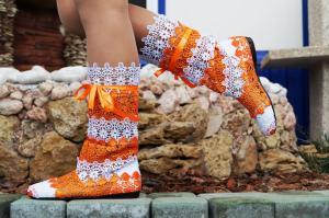 Фото Обувь Украина - производство 3-7 дней, Сапожки, ботиночки тканевые САПОЖКИ МАКРАМЕ БЕЛО-ОРАНЖ АРТ С1-131