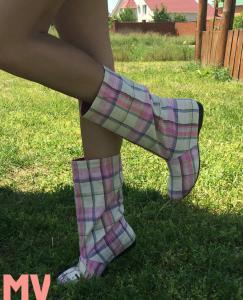 Фото Обувь Украина - производство 3-7 дней, Сапожки, ботиночки тканевые САПОЖКИ ТКАНЕВЫЕ КЛЕТКА АРТ С1-193
